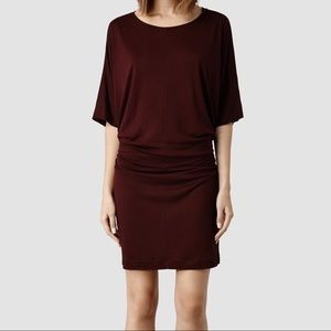 All Saints Darcy drape Dress Burgundy Red SZ 4